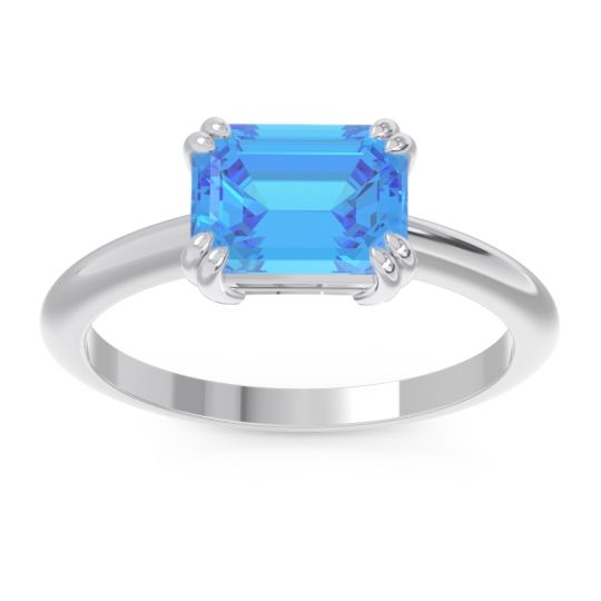 Swiss Blue Topaz East-West Solitaire Pazu Ring in 14k White Gold
