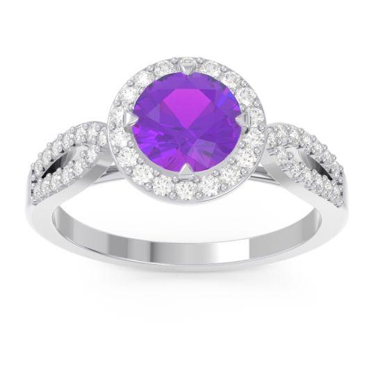 Amethyst Halo Pave Kalya Ring with Diamond in 14k White Gold