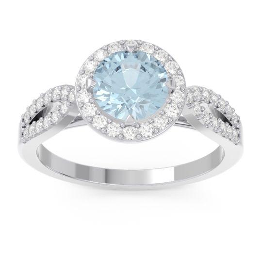 Aquamarine Halo Pave Kalya Ring with Diamond in 14k White Gold