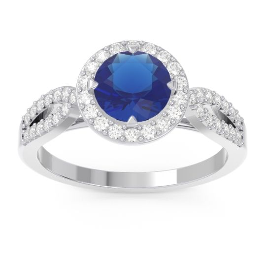 Blue Sapphire Halo Pave Kalya Ring with Diamond in 14k White Gold