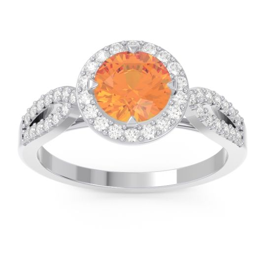 Citrine Halo Pave Kalya Ring with Diamond in 14k White Gold