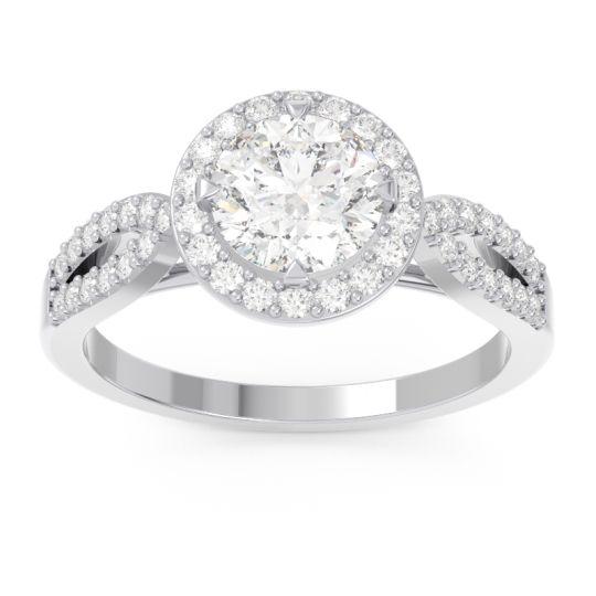 Diamond Halo Pave Kalya Ring in 14k White Gold