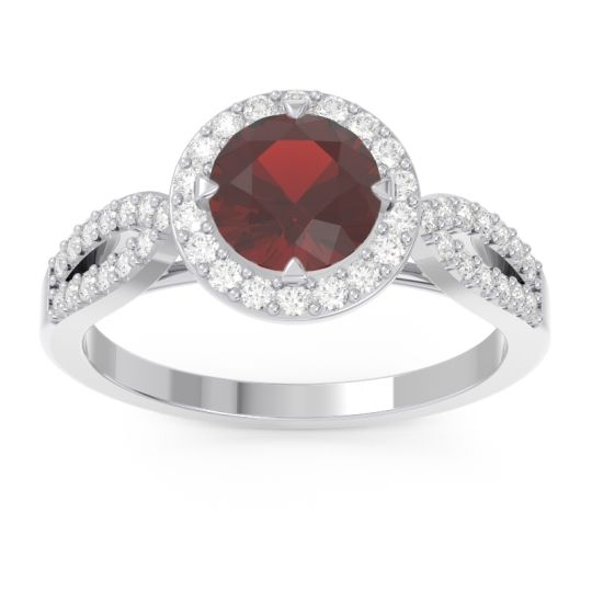 Garnet Halo Pave Kalya Ring with Diamond in 14k White Gold