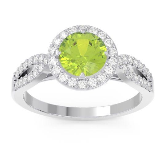 Peridot Halo Pave Kalya Ring with Diamond in 14k White Gold