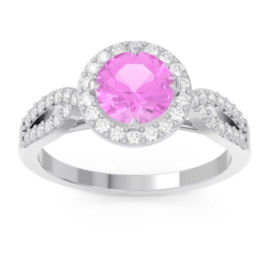 Pink Tourmaline Halo Pave Kalya Ring with Diamond in 14k White Gold