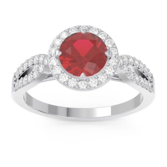 Ruby Halo Pave Kalya Ring with Diamond in 14k White Gold