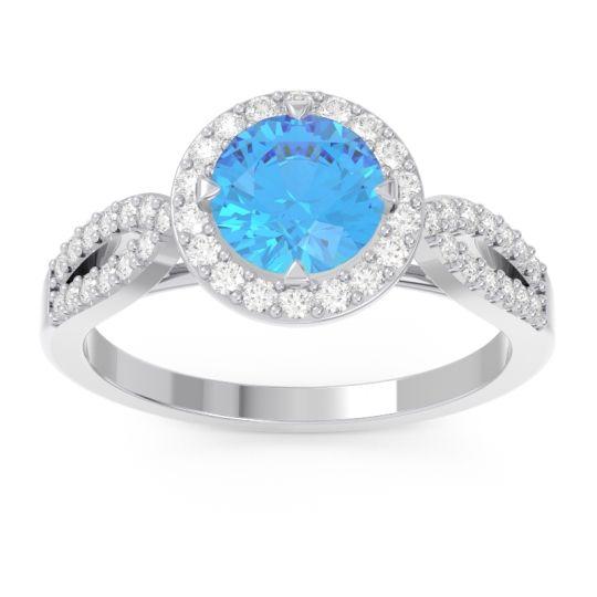 Swiss Blue Topaz Halo Pave Kalya Ring with Diamond in 14k White Gold