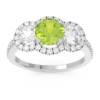 Peridot Halo Three Stone Attika Ring with Diamond in 14k White Gold