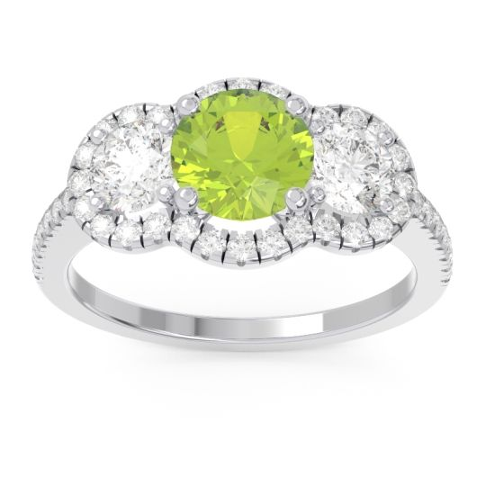 Halo Three Stone Attika Peridot Ring with Diamond in 14k White Gold
