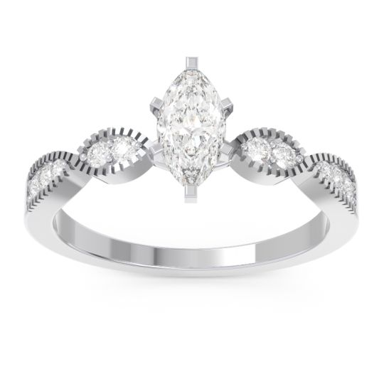 Art Deco Marquise Relayana Diamond Ring in 14k White Gold