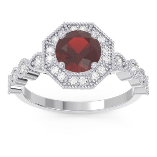 Garnet Art Deco Halo Devalaya Ring with Diamond in 14k White Gold