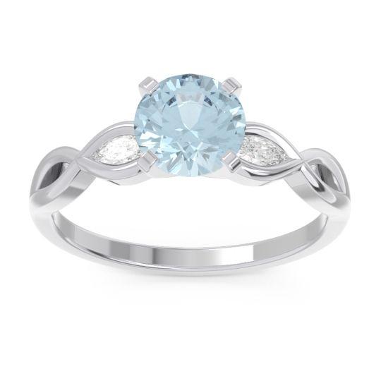 Aquamarine Milgrain Pave Samcita Ring with Diamond in 14k White Gold