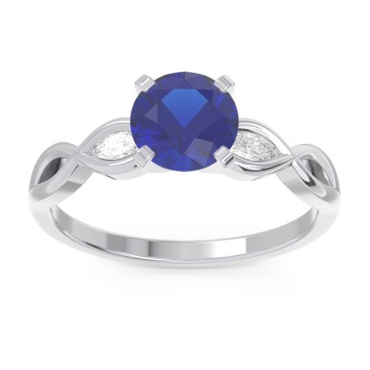 Milgrain Pave Samcita Blue Sapphire Ring with Diamond in 14k White Gold