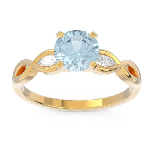 Aquamarine Milgrain Pave Samcita Ring with Diamond in 14k Yellow Gold