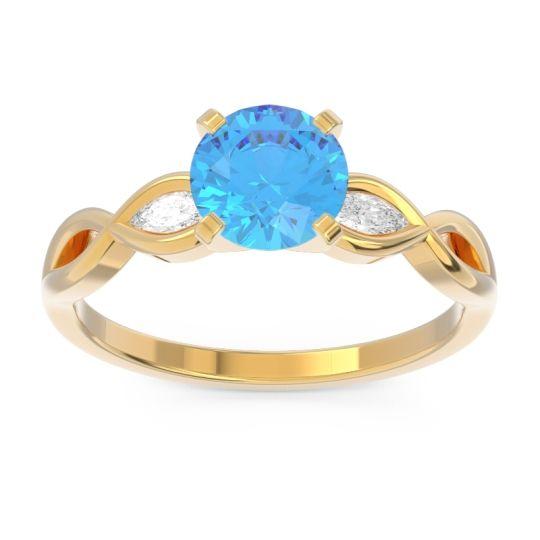 Swiss Blue Topaz Milgrain Pave Samcita Ring with Diamond in 18k Yellow Gold