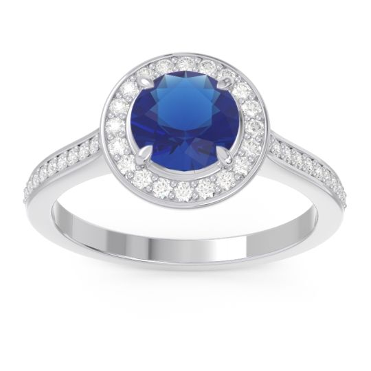 Blue Sapphire Halo Pave Vitvaksana Ring with Diamond in 14k White Gold