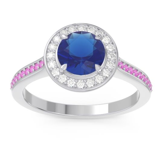 Blue Sapphire Halo Pave Vitvaksana Ring with Diamond and Pink Tourmaline in 14k White Gold