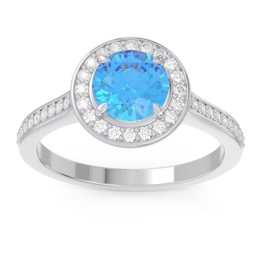 Swiss Blue Topaz Halo Pave Vitvaksana Ring with Diamond in 18k White Gold