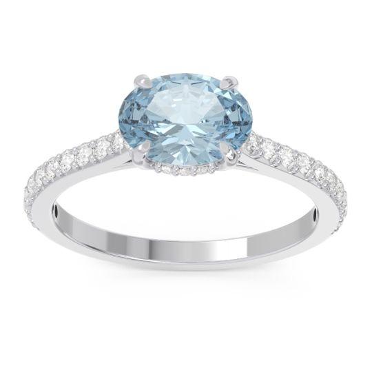 Aquamarine Cathedral Pave Mahavisa Ring with Diamond in 14k White Gold