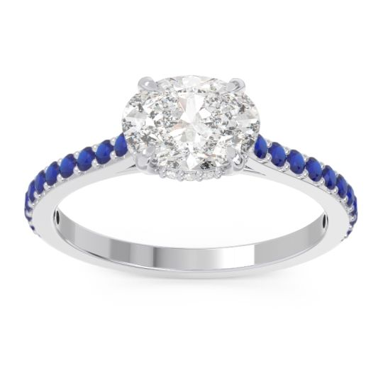 Diamond Cathedral Pave Mahavisa Ring with Blue Sapphire in 14k White Gold