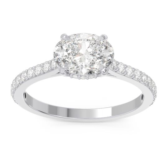 Cathedral Pave Mahavisa Diamond Ring in 14k White Gold