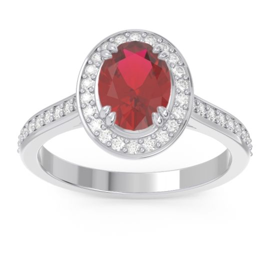 Halo Pave Oval Oni Ruby Ring with Diamond in 14k White Gold