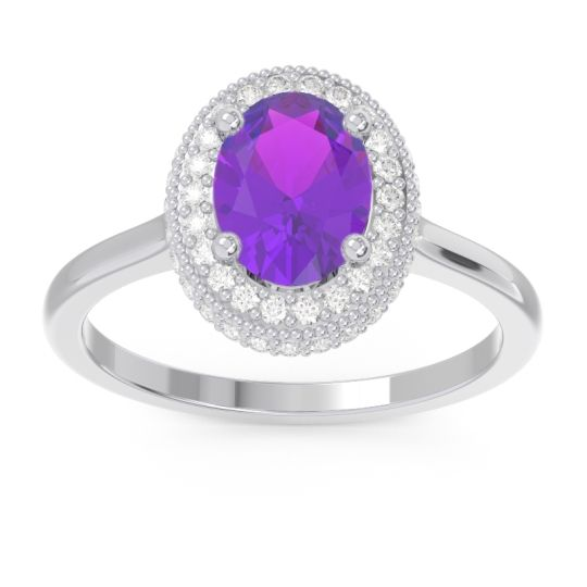 Amethyst Halo Milgrain Pave Oval Dhanya Ring with Diamond in 14k White Gold