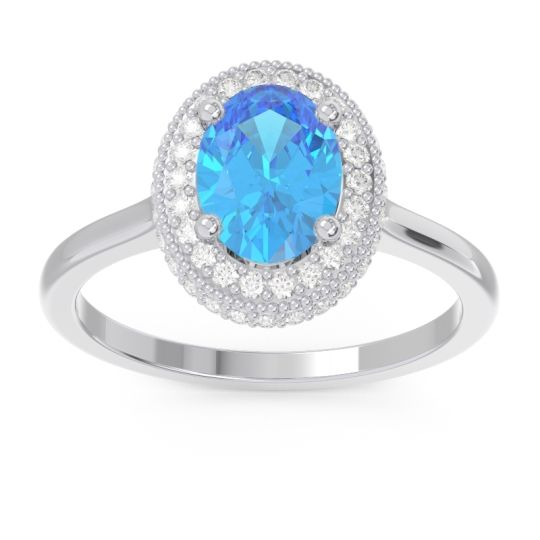 Halo Milgrain Pave Oval Dhanya Swiss Blue Topaz Ring with Diamond in 14k White Gold