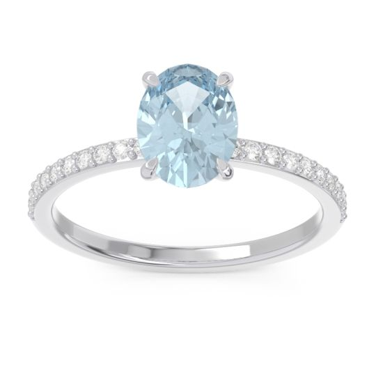 Oval Pave Presya Aquamarine Ring with Diamond in 14k White Gold