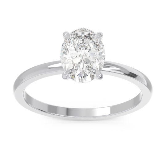 Solitaire Oval Taraksa Diamond Ring in 14k White Gold