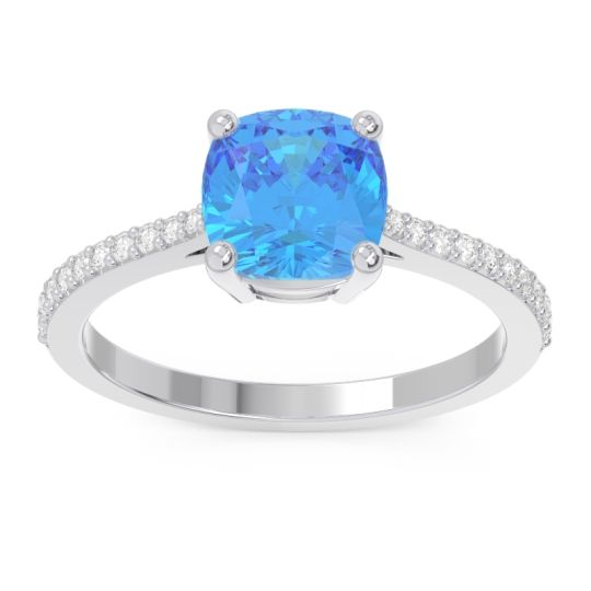 Pave Cushion Opaza Swiss Blue Topaz Ring with Diamond in 14k White Gold