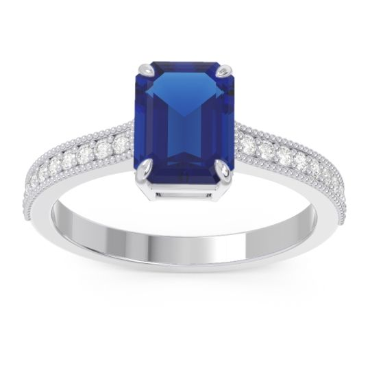Milgrain Pave Emerald Cut Gopura Blue Sapphire Ring with Diamond in 14k White Gold