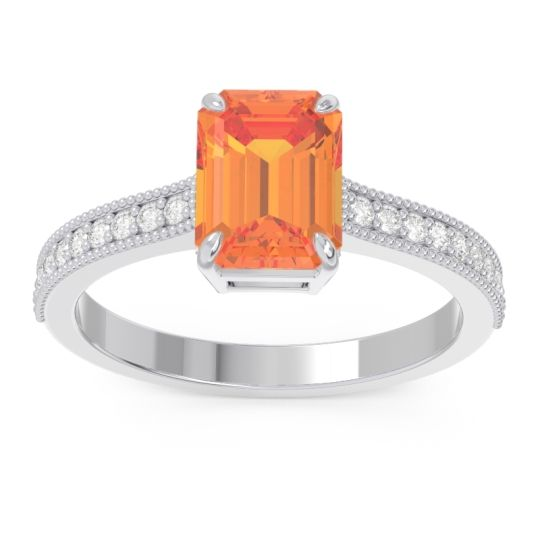 Citrine Milgrain Pave Emerald Cut Gopura Ring with Diamond in 14k White Gold