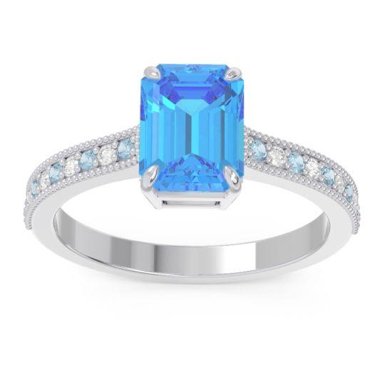Swiss Blue Topaz Milgrain Pave Emerald Cut Gopura Ring with Aquamarine and Diamond in 14k White Gold