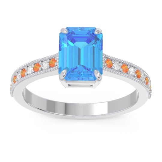 Swiss Blue Topaz Milgrain Pave Emerald Cut Gopura Ring with Citrine and Diamond in 14k White Gold