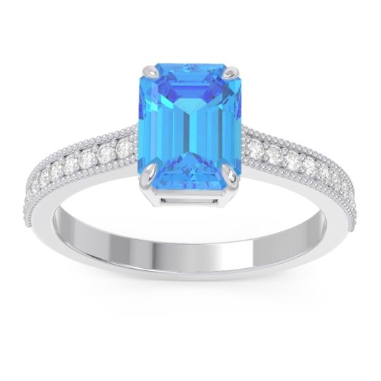 Milgrain Pave Emerald Cut Gopura Swiss Blue Topaz Ring with Diamond in 18k White Gold