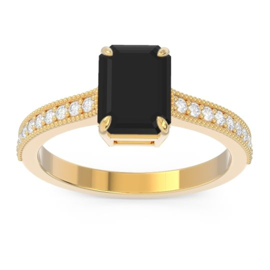 Black Onyx Milgrain Pave Emerald Cut Gopura Ring with Diamond in 18k Yellow Gold
