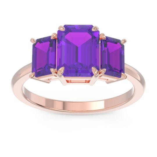 Amethyst Three Stone Emerald Cut Lepakara Ring in 18K Rose Gold