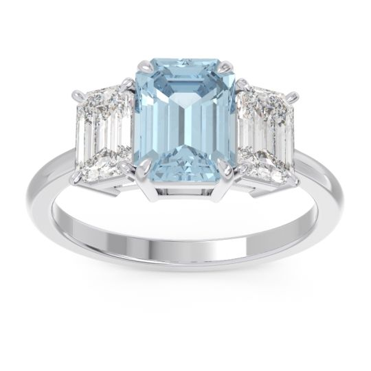 Three Stone Emerald Cut Lepakara Aquamarine Ring with Diamond in 14k White Gold