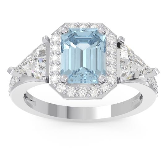 Art Deco Three Stone Halo Devi Aquamarine Ring with Diamond in 14k White Gold