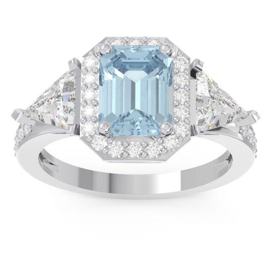 Aquamarine Art Deco Three Stone Halo Devi Ring with Diamond in 14k White Gold