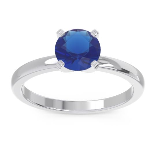 Solitaire Zuci Blue Sapphire Ring in 14k White Gold