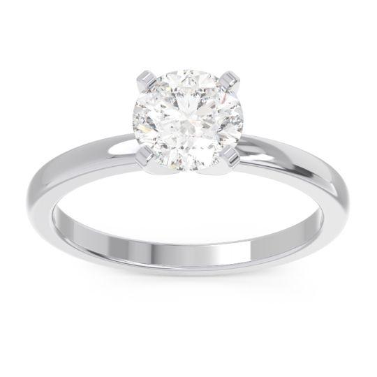 Diamond Solitaire Zuci Ring in 14k White Gold