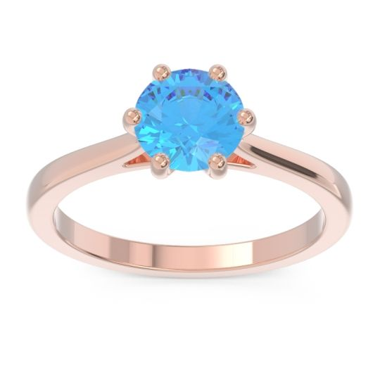 Swiss Blue Topaz Solitaire Punya Ring in 14K Rose Gold