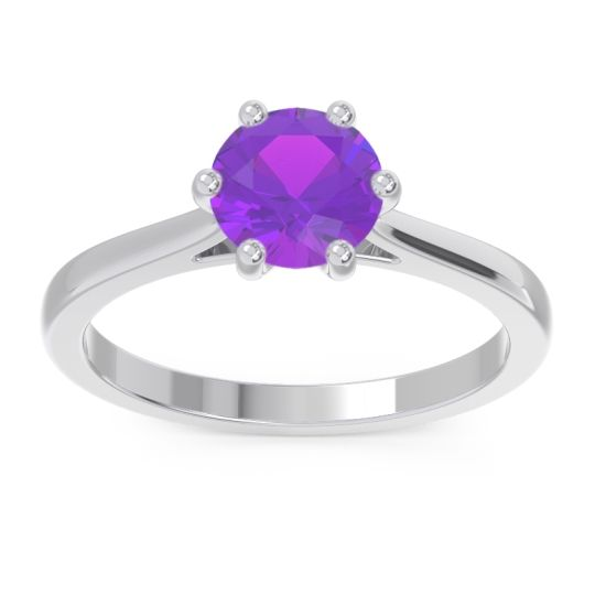 Amethyst Solitaire Punya Ring in 18k White Gold
