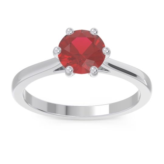 Solitaire Punya Ruby Ring in 14k White Gold