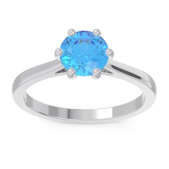 Swiss Blue Topaz Solitaire Punya Ring in 18k White Gold