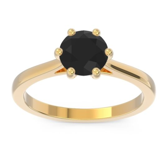 Solitaire Punya Black Onyx Ring in 18k Yellow Gold