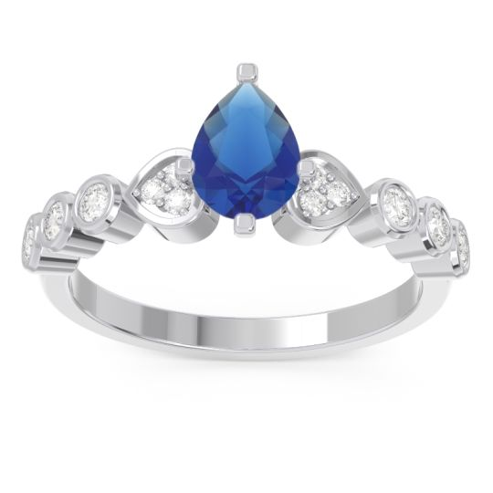 Pave Marquise Tsaru Blue Sapphire Ring with Diamond in 14k White Gold