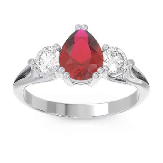 Ruby Three Stone Pear Shape Baspa Ring with Diamond in 14k White Gold